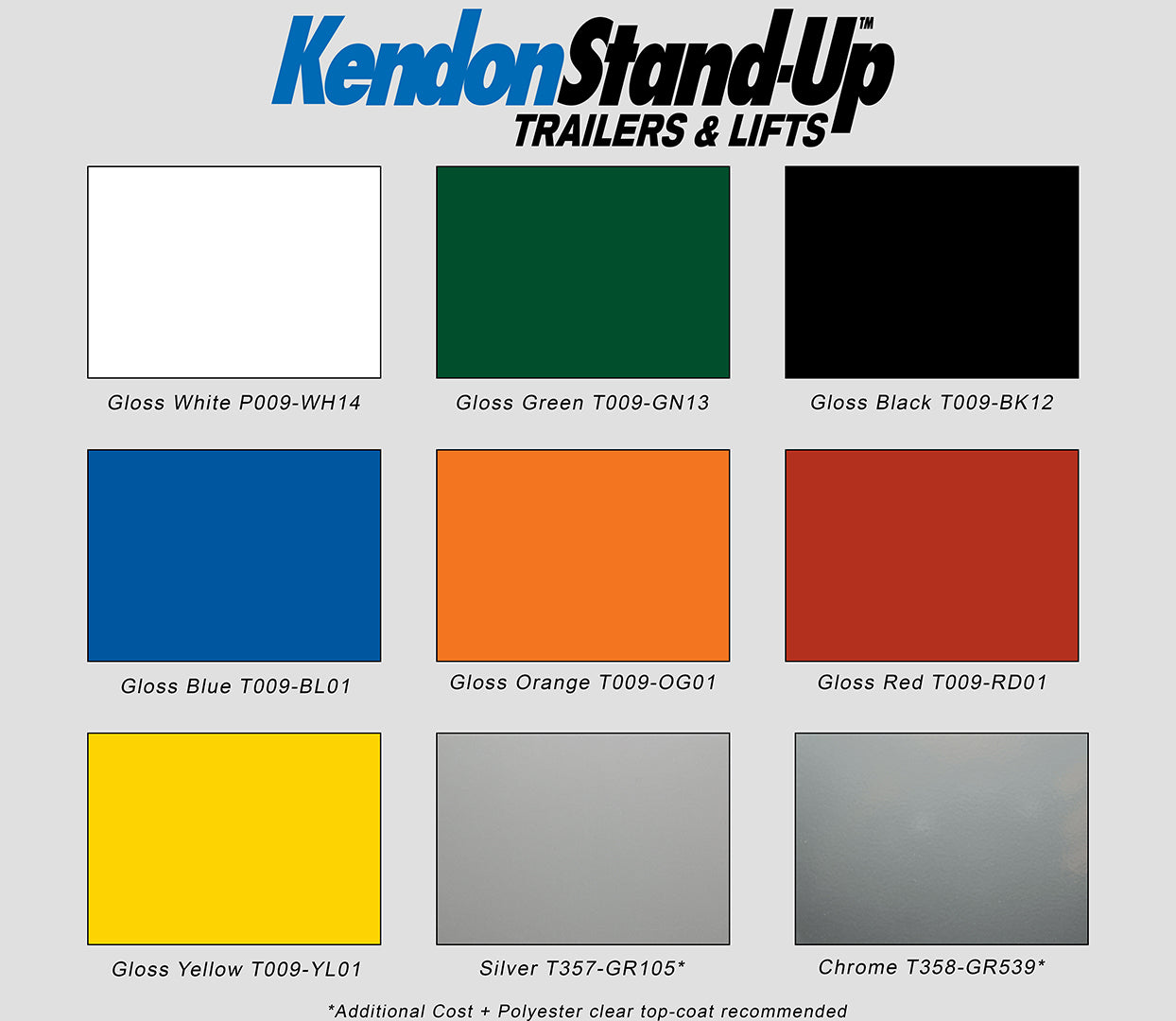 Kendon Powder Coat Color Options