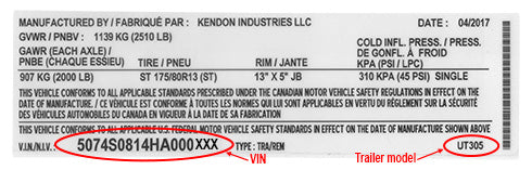 Kendon Stand-Up™ Trailers Model Year VIN Designation Guide