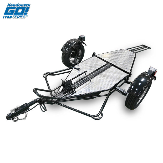 Go! Series Single Stand-Up Motorcycle Trailer Unfolded
