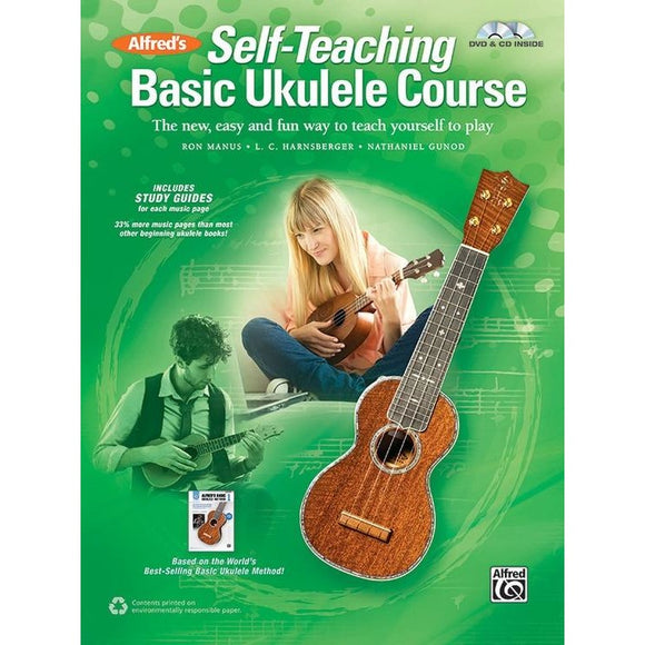 Alfred's Self-Teaching Basic Ukulele Course by Manus, Harnsberger, and Gunod (Book, CD & DVD)