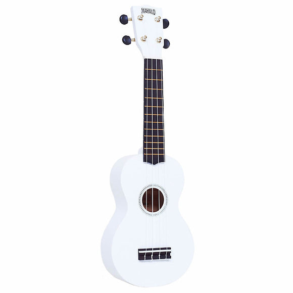 Mahalo Rainbow Series White Soprano Ukulele with Bag
