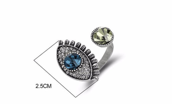 Vintage Silver Color Eye Ring beautyleesh.com