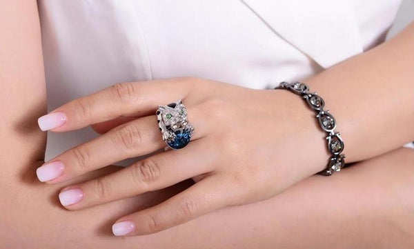 Luxury Silver Plated Leopard Ring beautyleesh.com