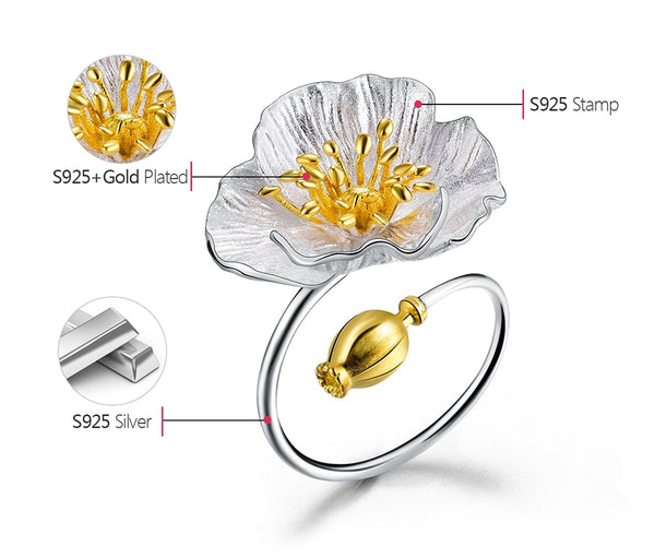Silver Spring Flower Ring beautyleesh.com