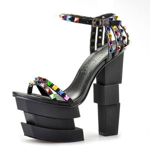 Crystal Black High Heels Sandals beautyleesh.com