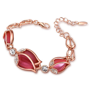 Rose Gold Color Red Tulip Bracelet beautyleesh.com