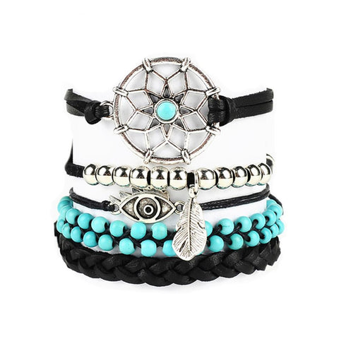 Leather Bracelets set Five Layers beautyleesh.com