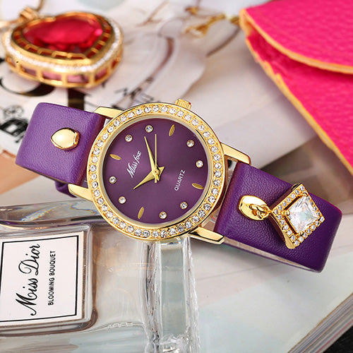 Luxury Women Leather Strap Watch beautyleesh.com