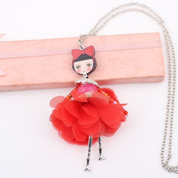Red Riding hood Doll Handmade Necklace beautyleesh.com