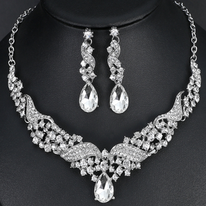 Crystal Jewelry Sets Water Drop Earrings Necklace Silver-color Rhinestone f04ad9675b8c