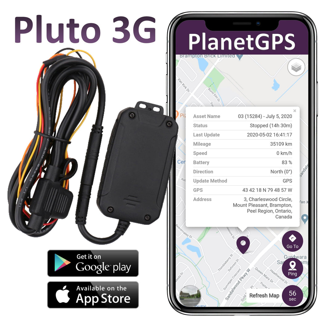 Pluto 3G Hard-Wired GPS Tracker + 1 Year Worldwide Service