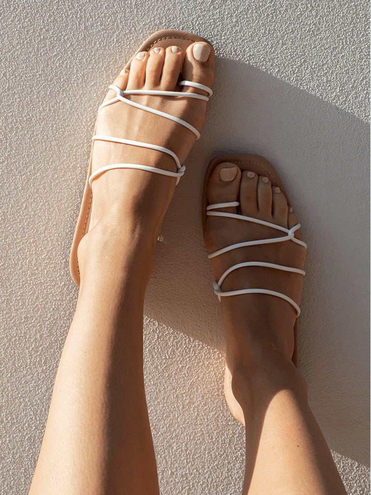 Covet Shoes Strappy White Flat Sandals on the foot