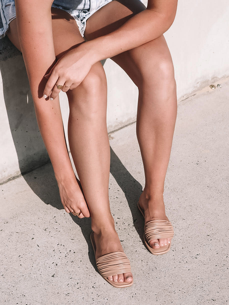 Strappy Nude Flat Sandals