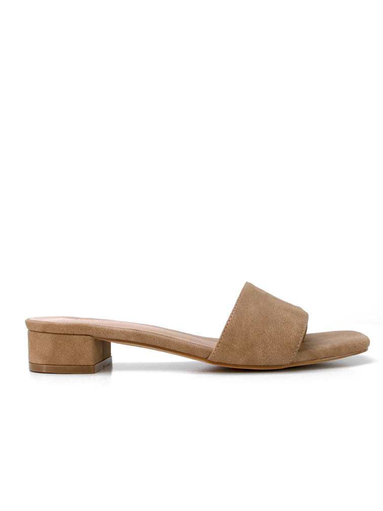CARA Tan Low Block Heel Covet Shoes