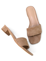 CARA Tan Low Block Heel Top View Covet Shoes