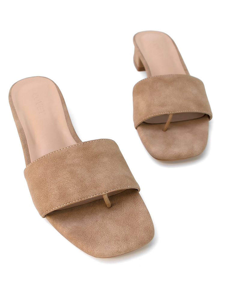 Covet Shoes Pair of CARA Tan Low Block Heel