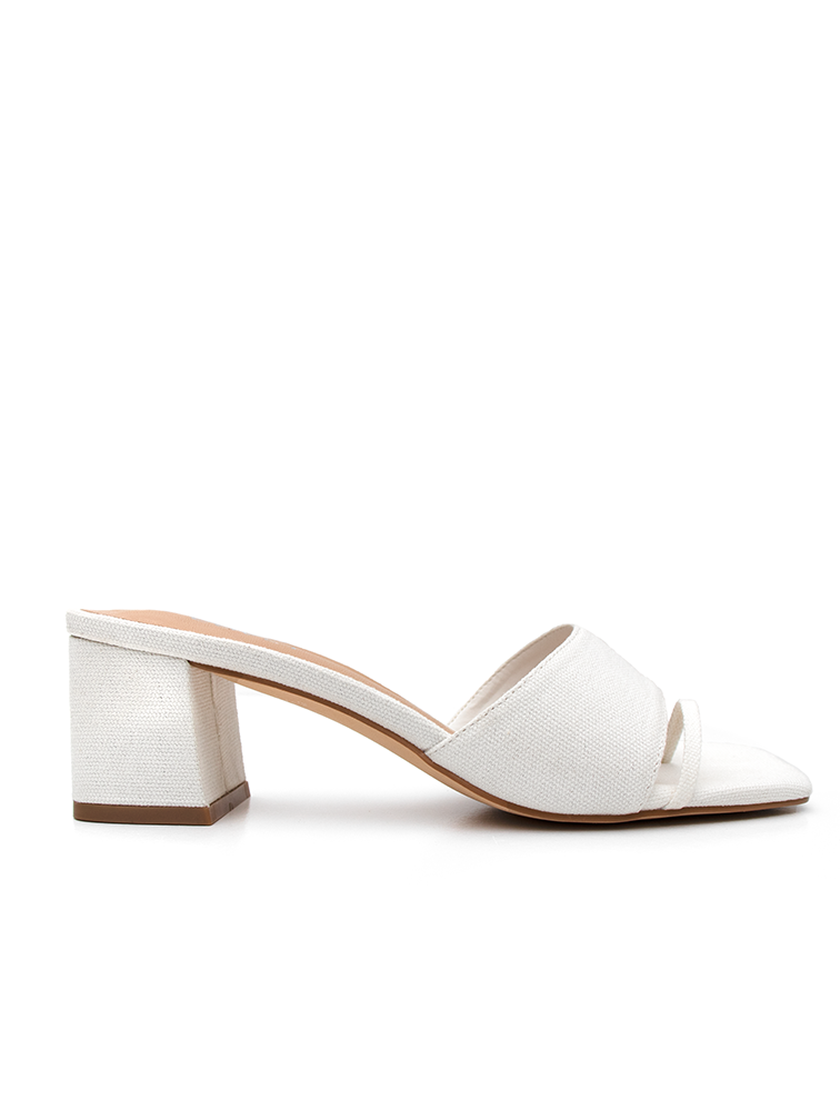 CHARLEE Off White Block Heels