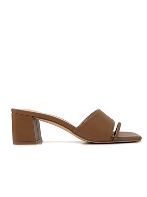 CHARLEE Tan Chunky Block Heel Mid Heel Side View by Covet Shoes