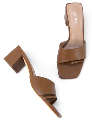 CHARLEE Tan Block Heel Pair by Covet Shoes
