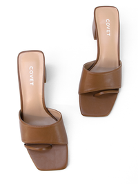 CHARLEE Tan Block Heel Top View by Covet Shoes