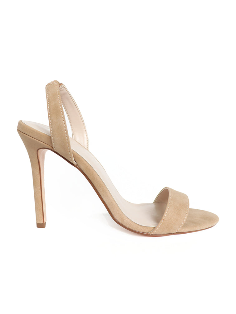 Side view of Nude Stiletto Slingback heels product