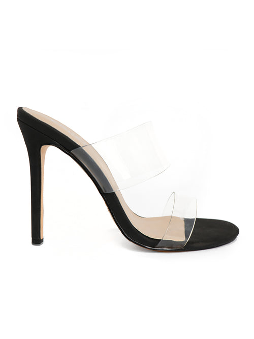 Side Profile of Black Stiletto heels with 2 clear straps