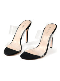 Pair of 10cm black stiletto heels with 2 clear straps at the font