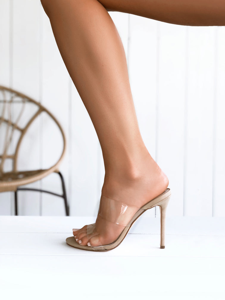 c186aa5cd0 Bella Clear Perspex Stiletto Mule-Nude | Clear High Heels | Nude Stilettos  – Covet Shoes