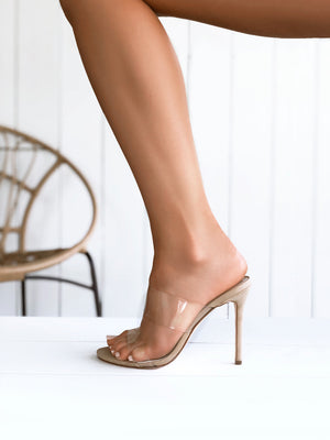 Covet Shoes Bella Clear Plastic Stiletto Mule - Nude