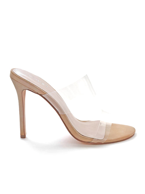 Side view of nude stiletto heels with two clear straps at the font