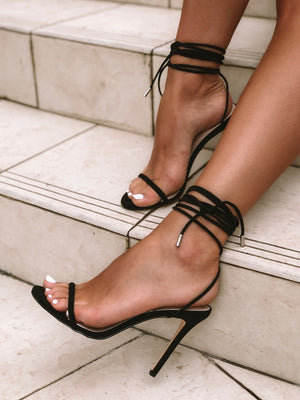Chloe Black Lace Up Stiletto