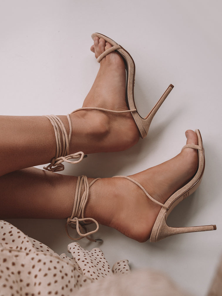 Nude Stiletto Sandals on model side view from top