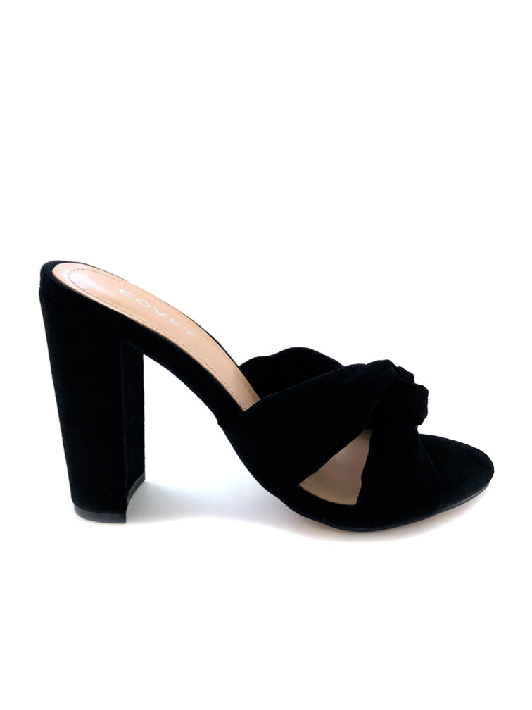 Eloise Black Twisted Font Block Heel Mule