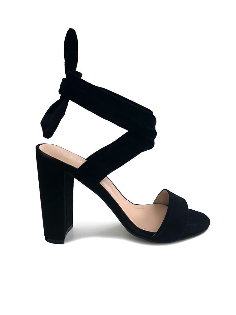 Erica Black Wrap Block Heel