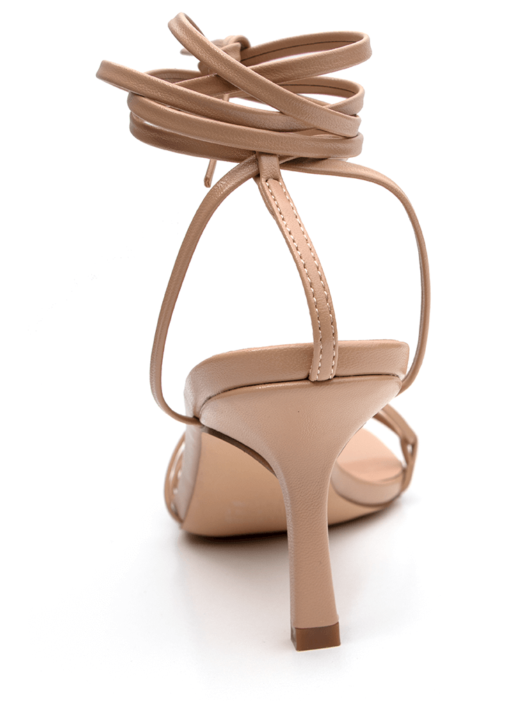 Heel View of Covet Shoes Nude Lace Up Stiletto Heels