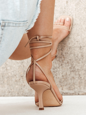 LEAH Nude Lace Up Heels
