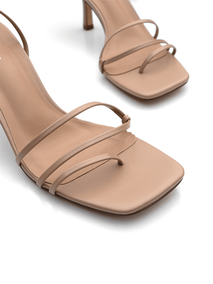Close up of Covet Shoes Square Toe Nude Strappy Heels