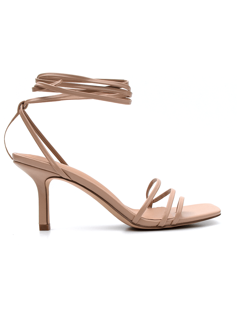 Nude Lace Up 7.5cm Heels