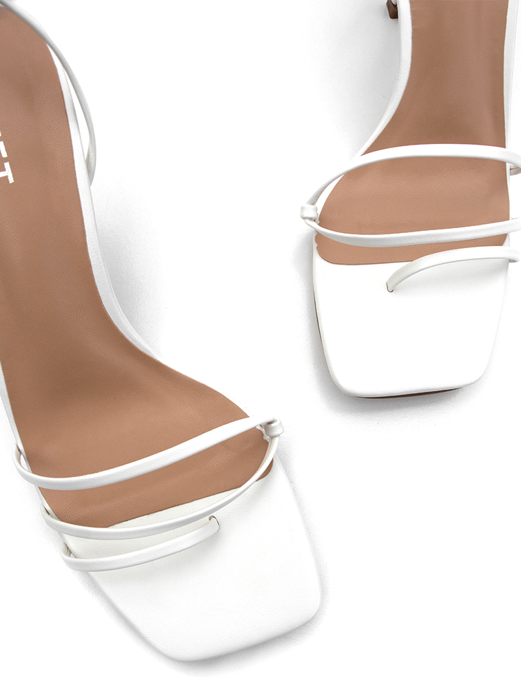 Top view of Covet Shoes Off White Lace Up Stiletto Heels