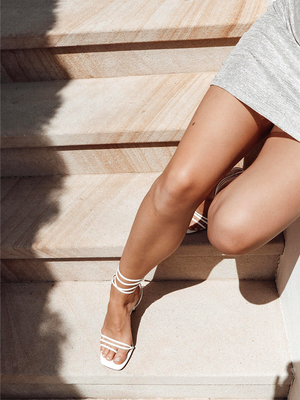 LEAH Off White Lace Up Heels
