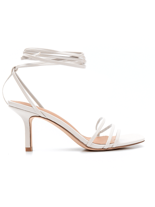 Covet Shoes Off White Lace Up Stiletto Heels