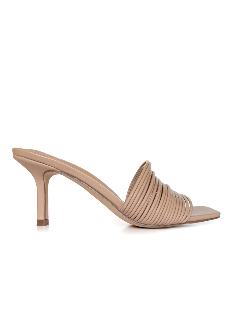 Side view of strappy 7cm nude stiletto heeled sandals