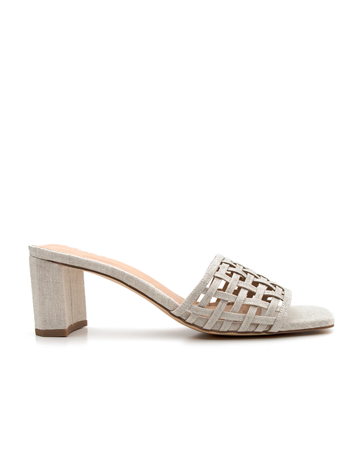 Natural oatmeal woven block heel