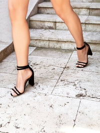 Women's Black Faux Suede Tube Strappy 10cm Block Heel Sandal - Rach Black Covet Shoes