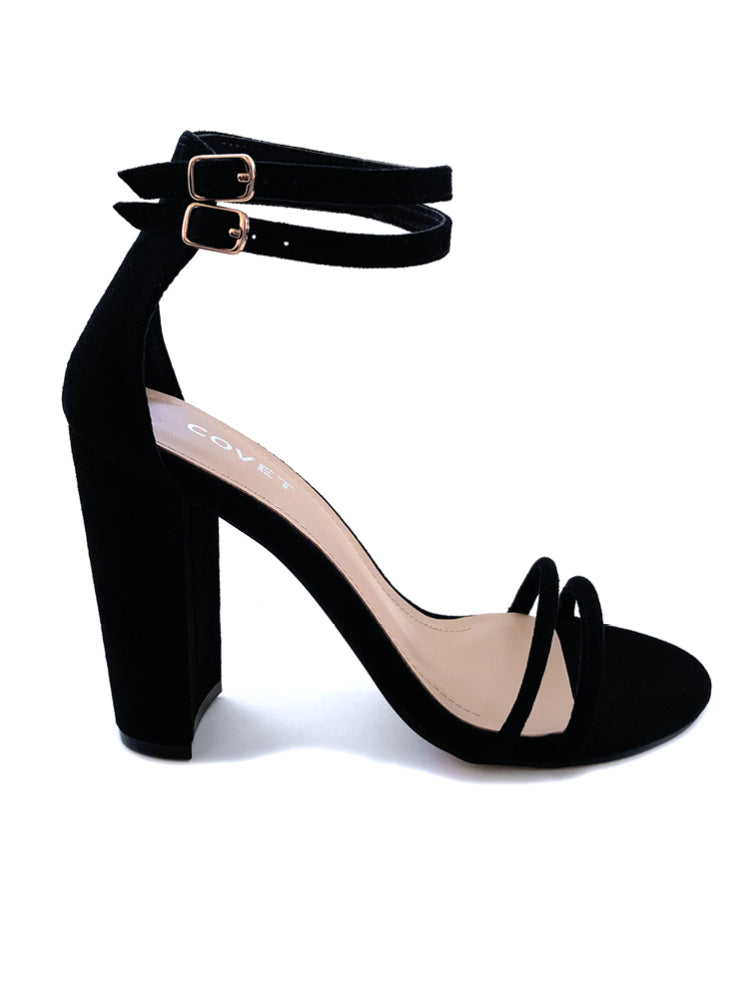 Rach Black Double Strap Block Heel