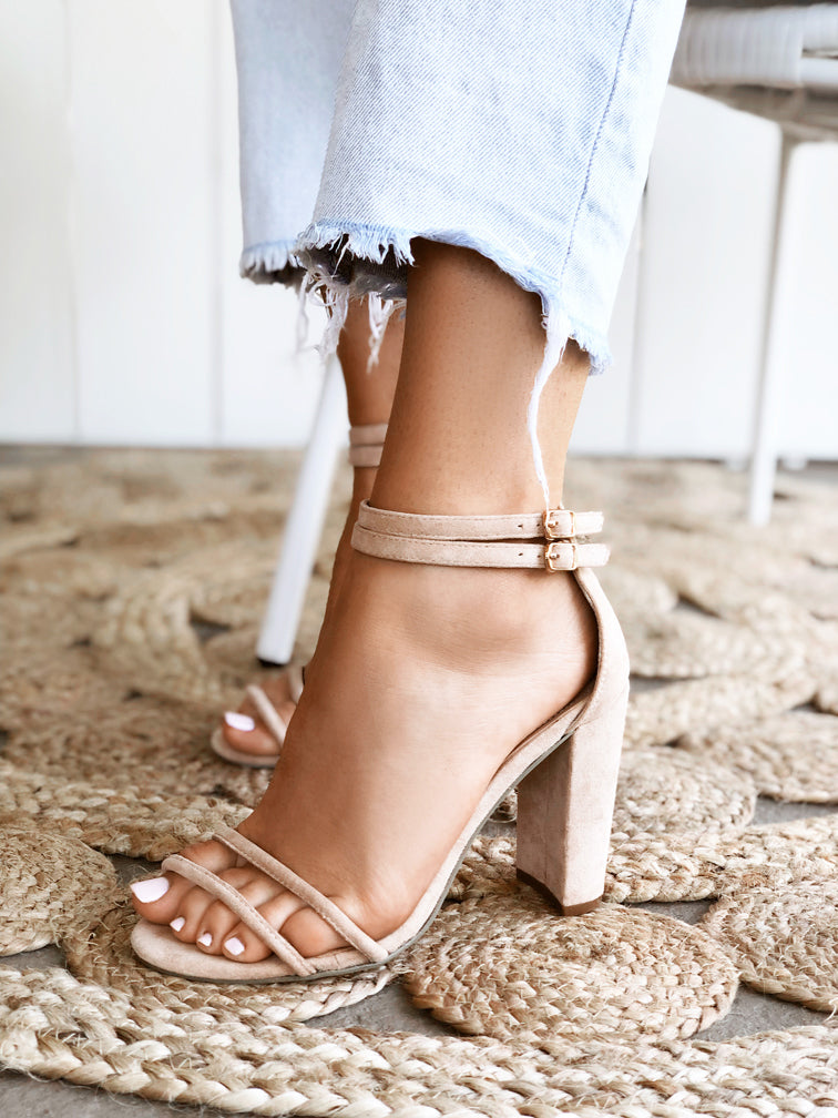 Women's Nude Beige Sand Netural Faux Suede Tube Strappy 10cm Block Heel Sandal - Rach Nude Covet Shoes