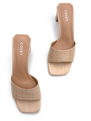Birds eye view of natural colour woven block heels from Covet Shoes