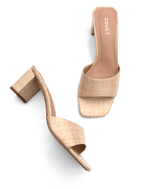 Overhead view of natural colour block heels from Covet Shoes
