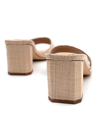 Heel detail on a pair of woven block heels in a natural colour from Covet Shoes