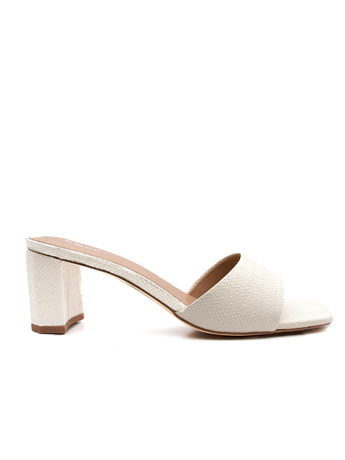 Vanilla Cream colour woven block heels from Covet Shoes